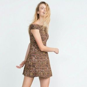 Zara women jacquard off the shoulder dress